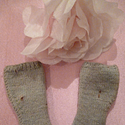 Miniature pair old French sage colored doll's socks : 2 inches long : foot 3/4 inch wide