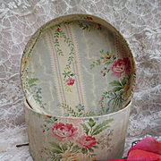 Delicious faded grandeur French old fabric covered boudoir box : rose bouquets : shop label