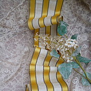 Delicious morceau 19th C. French silk moire yellow cream and black striped ribbon : projects :  59 inches