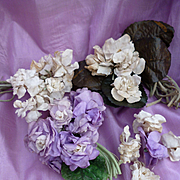 Small batch French faded grandeur millinery flower bouquets or posy pieces : perfect for doll projects