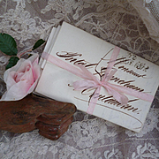 Batch early 19th C. French ephemera letters : scrolled ink writing :  pink silk ribbon