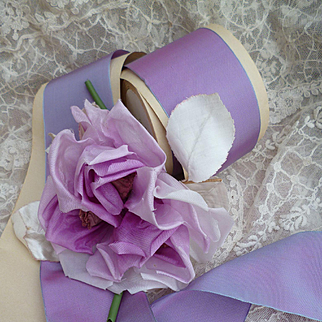 Vintage French irridescent blue pink lilac colored rayon ribbon : wired edges : packaging roll : projects