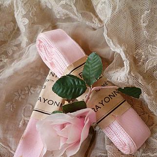Batch vintage French unused pink rayon ribbon : original packaging