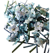 Delicious batch blue miniature forget me not millinery flowers :perfect doll's clothing and hat projects  ( 75 )