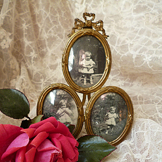 Unusual French bow top bronze dore and brass easel photo frame : 3 views
