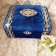 Delicious 19th C. French blue velvet boudoir trinket or jewelry box : silk padded lining