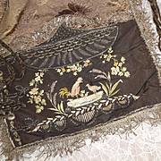 Exquisite 18th C. large recticule ladies bag : fine embroidery : silver metallic bobbin lace : cockerel