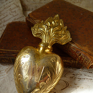 Decorative French brass flaming sacred heart holy water flacon : inscription : dated 1853