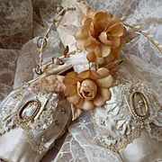 Shabby pair 19th C. French ladies  silk wedding or ball shoes : ribbon bow : lace and faux pearls