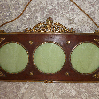 Decorative antique French Empire style bronze and wood mat photo frame : 3 views