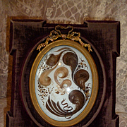 Decorative antique French hair art velvet easel frame : curls : ribbon bow :Amede : Marie