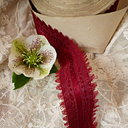 Superb French burgundy colored old ribbon : floral motifs : unused : doll's clothing or hat projects
