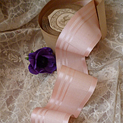 Superb  French pink soft grosgrain old ribbon : unused :  doll's clothing projects