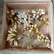 Rare batch old French wax buds , brooches and artificial flower bouquet : doll projects  : shabby old box