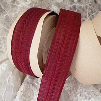 Superb old French claret bordeaux colored ribbon : unused : doll's clothing and hat projects