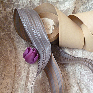 Superb old French 2 tone grey and caramel colored ribbon : unused : projects