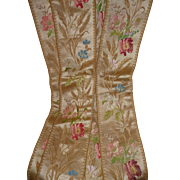 4 delicious long lengths 19th C. French silk passementerie trim with floral and foliage motifs : Napoleon III period