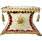 Faded grandeur French 19th C. religious hand embroidered wooden display or presentation stand : flaming hearts : metallic tassels