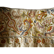 Morceau 19th C. French hand embroidered silk and metallic thread work panel : silk , floral foliage motifs : project