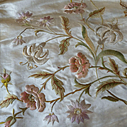 2 beautiful 19th C  French hand embroidered panels champagne colored silk panels : projects
