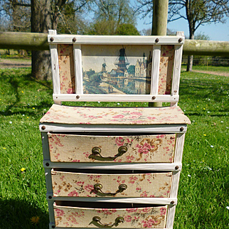 Faded grandeur old French boudoir cabinet  : fabric covered drawers : doll size : circa 1900