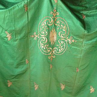 Faded grandeur antique emerald green cover or throw : gold metallic hand embroidery : floral scroll motifs : central medallion