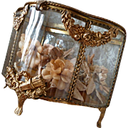 Delicious 19th C. French curvy brass glass boudoir wedding casket : gold cushion :  swags : flame quiver wreath motifs