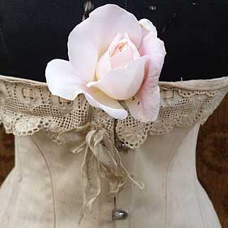 Delicious French ladies old ecru toile curvy corset : embellished with lace ribbon bow : period display