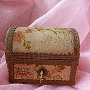 Adorable miniature French old fabric covered box :gold metallic trim : doll accessory