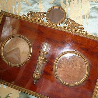 Decorative antique French wood mat photo frame : mythical creature motifs : 3 views : specimen vase
