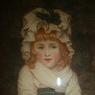 Charming 19th C. framed colored stipple engraving : young girl Penelope Boothby