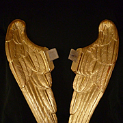 Superb pair rare antique French hand carved gilt wood angel wings