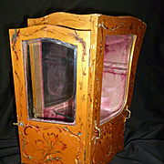 Decorative antique French vernis martin style miniature chaise a porteurs : sedan chair : display cabinet : doll accessory