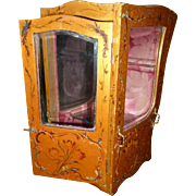 Decorative antique French vernis martin style miniature chaise a porteurs : sedan chair : display cabinet