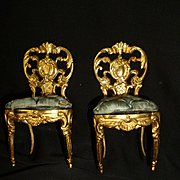 Splendid pair miniature gilt metal doll's house chairs : padded blue silk cushions : style regence