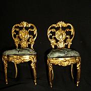 Splendid pair miniature gilt metal doll's house chairs : padded blue silk cushions : style regence