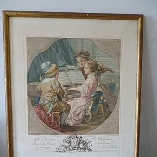 Charming antique  French colored engraving entitled La musique : Carle Vanloo : Etienne Fessard 1756