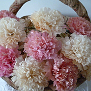 Delicious batch vintage French pink and white waxed paper artificial carnation flowers : old florist stock ( 12 )