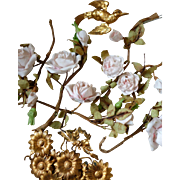 Delicious batch 19th C. French porcelain roses : gilt metal flowers : doves : projects