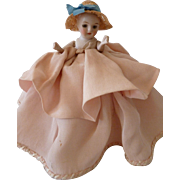 Adorable antique French faded grandeur hand made pink half mignonette doll box