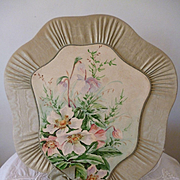 Adorable French moire silk : hand painted green easel boudoir porte letter or postcard : circa 1900