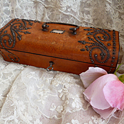 Antique French Palais Royal wooden empty sewing box : casket : etui : cut steel  MOP decoration