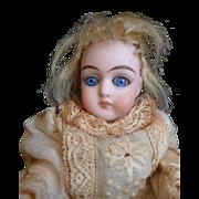 Adorable antique  mignonette doll : blue glass eyes : Au Nain Jaune magasin label