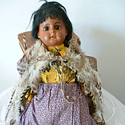 Pretty mulatto bisque head doll : Ernst Heubach : original clothing : 11 1/2 inches high