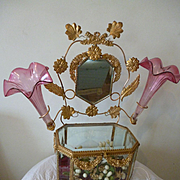 Unusual 19th C. French gilt metal & bevelled glass wedding casket : pink fluted vases