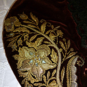 Beautiful antique ladies brown velvet cap : gold metallic hand embroidery : chenille passementerie