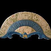 Faded grandeur fan shaped blue silk & velvet boudoir porte lettre : bow floral fabric : 1900