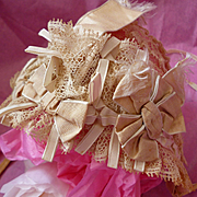 Charming late 19th C. French hand made doll's lace and ribbon bow bonnet