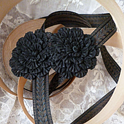 Delicious old French narrow black & chocolate ribbon : trim : original packaging : rosettes : doll projects : 10 meters