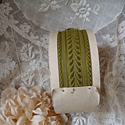 Delicious old French moss green colored ribbon trim : unused still on shop packaging roll : doll projects : 2 yard length
